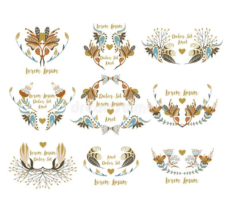 Reeks van 9 bloemenkaders Siergrenzen met bloemen Decoratieve kleurrijke elementen stock illustratie