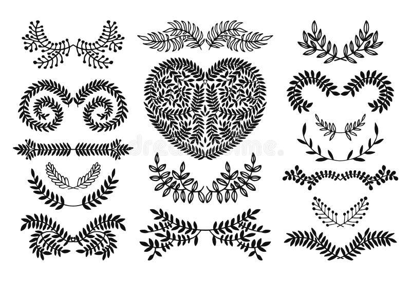 Reeks van Bloemenkrabbelinzameling stock illustratie
