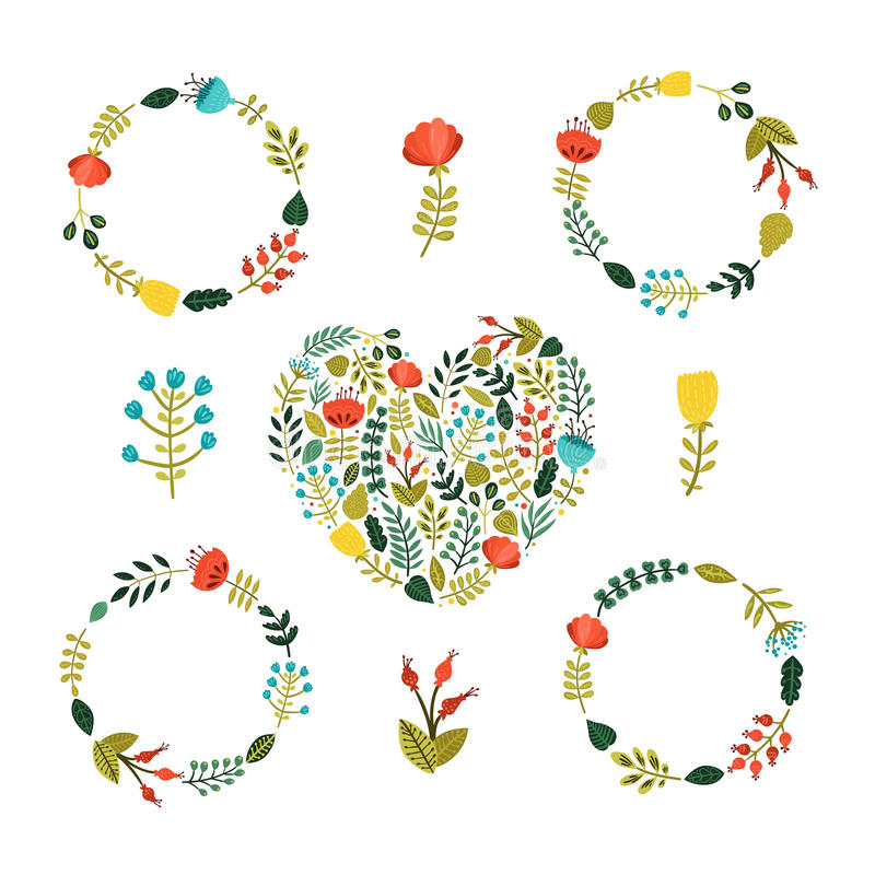 Reeks van Bloemenkroon met leuke kleurrijke bloemen vector illustratie
