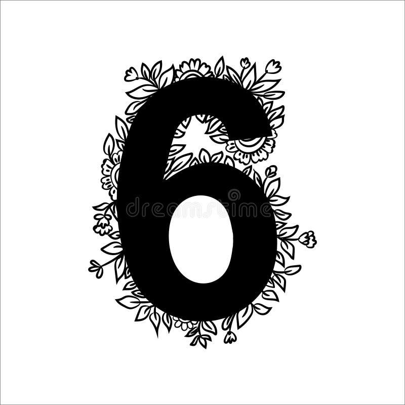 Reeks van bloemennummer zes met bloemen, bladeren en kruidendetails Zwart-wit grafisch ontwerpelement voor stickers, plakboek, royalty-vrije illustratie