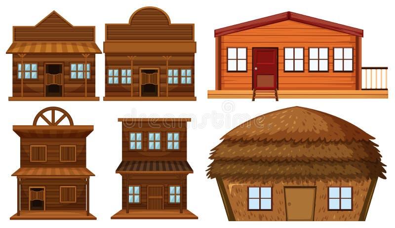 Reeks van blokhuis vector illustratie