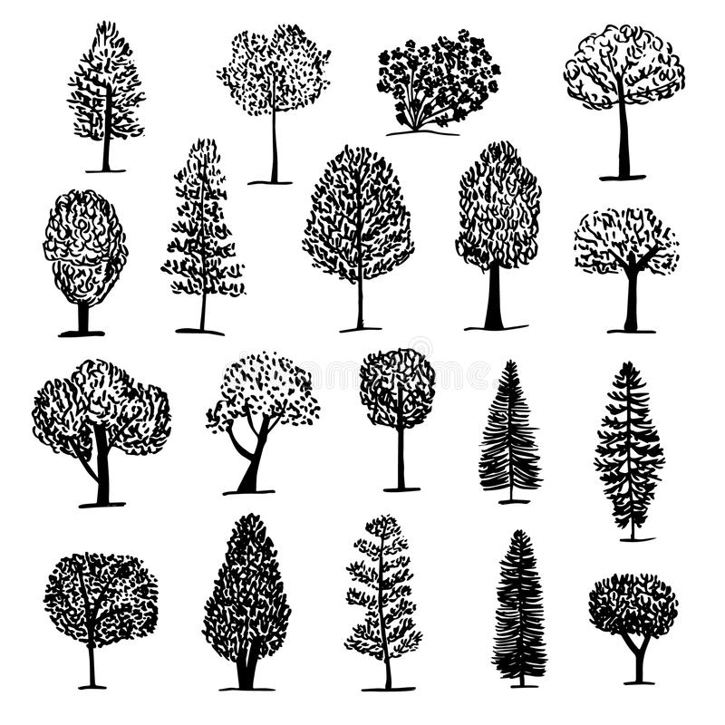 Reeks van bomenpictogram, schetsstijl vector illustratie