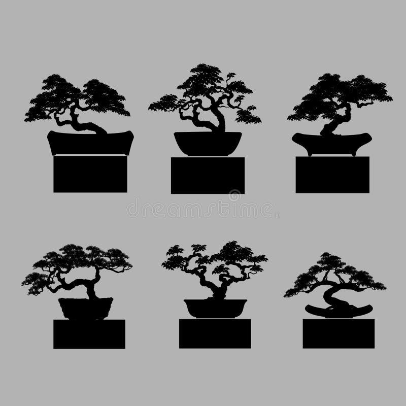 Reeks van bonsai stock illustratie
