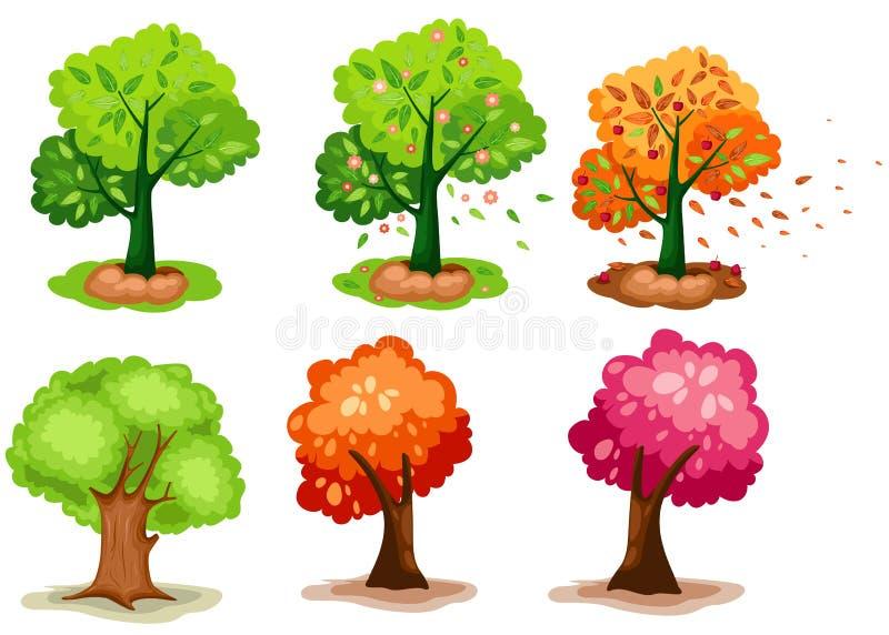 Reeks van boom vector illustratie