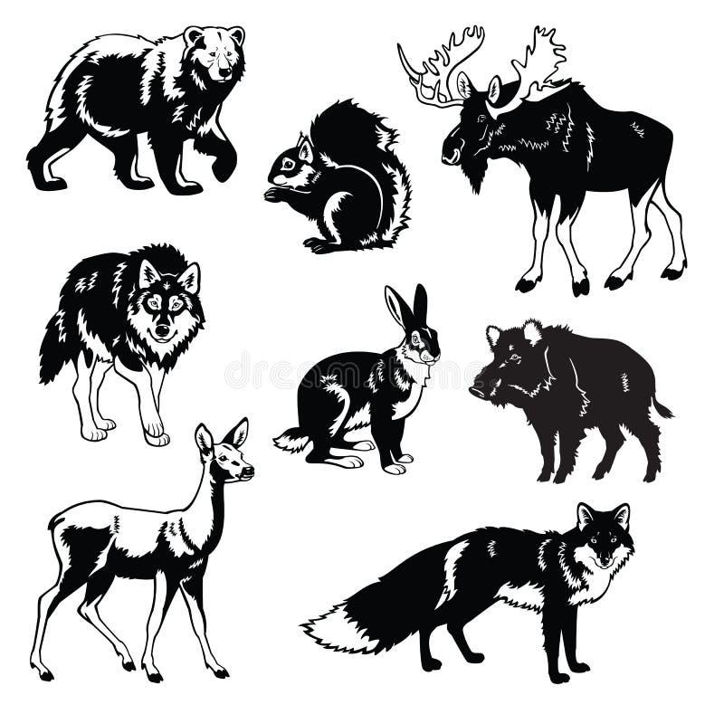 Reeks van bosdieren zwart wit royalty-vrije illustratie