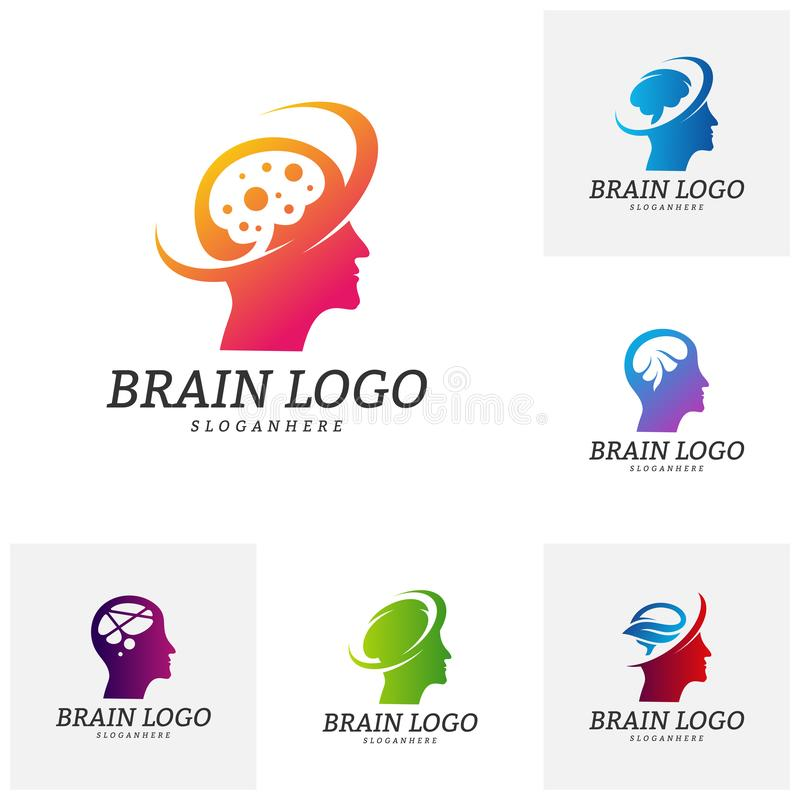 Reeks van Brain Head Logo Vector Template Het hoofd van de mens Mensensymbolen Mening Logo Concepts royalty-vrije illustratie