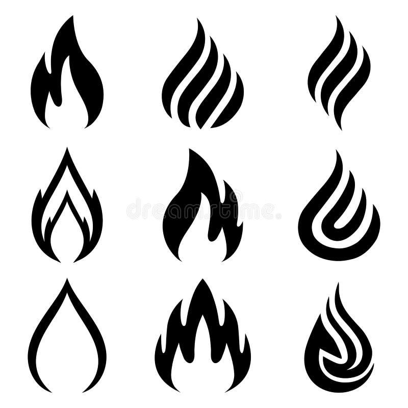Reeks van brand Vlam negen Pictogramillustratie voor ontwerp - vector stock illustratie