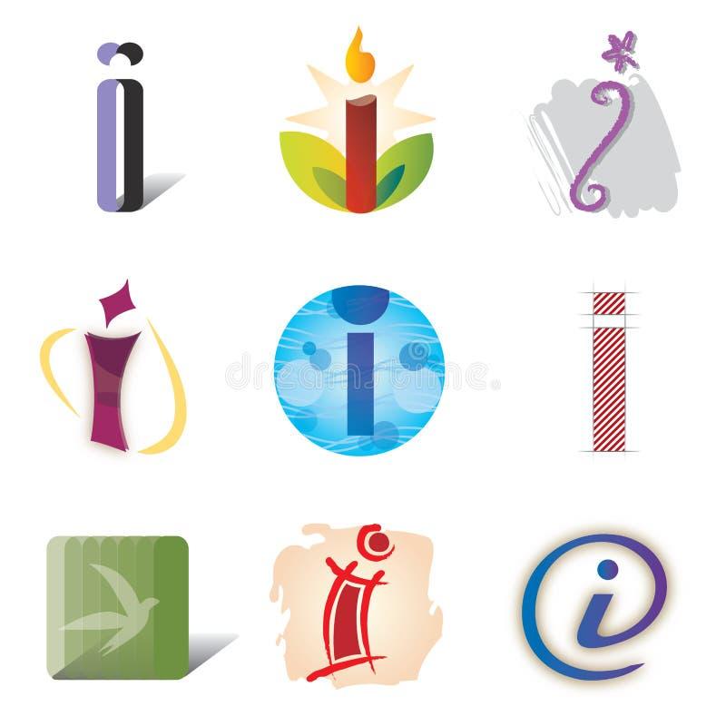 Reeks van Brief I van Pictogrammen en van de Elementen van het Embleem vector illustratie