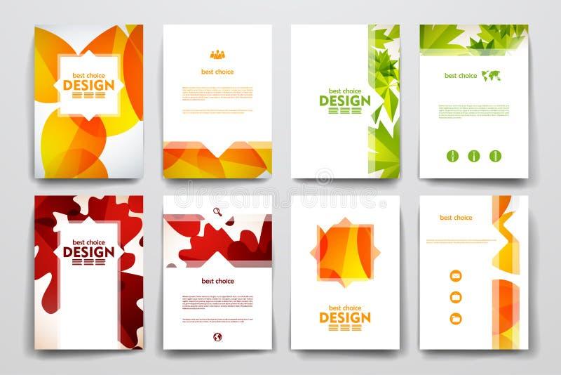 Reeks van brochure, de malplaatjes van het afficheontwerp in de herfst stock illustratie