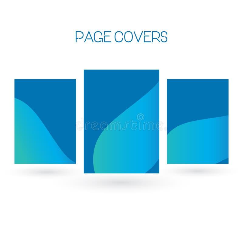Reeks van brochure, jaarverslag, vliegerontwerpsjablonen Vectorillustraties voor bedrijfspresentatie, collectief handelspapier, royalty-vrije illustratie