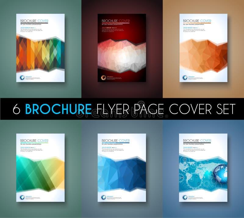Reeks van 6 Brochuremalplaatje, Vliegerontwerp en Depliant-Dekking voor zaken vector illustratie