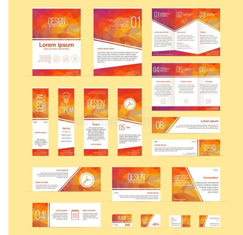 Reeks van brochures, vliegers, banners, bedrijfs en kortingskaarten vectormalplaatje vector illustratie