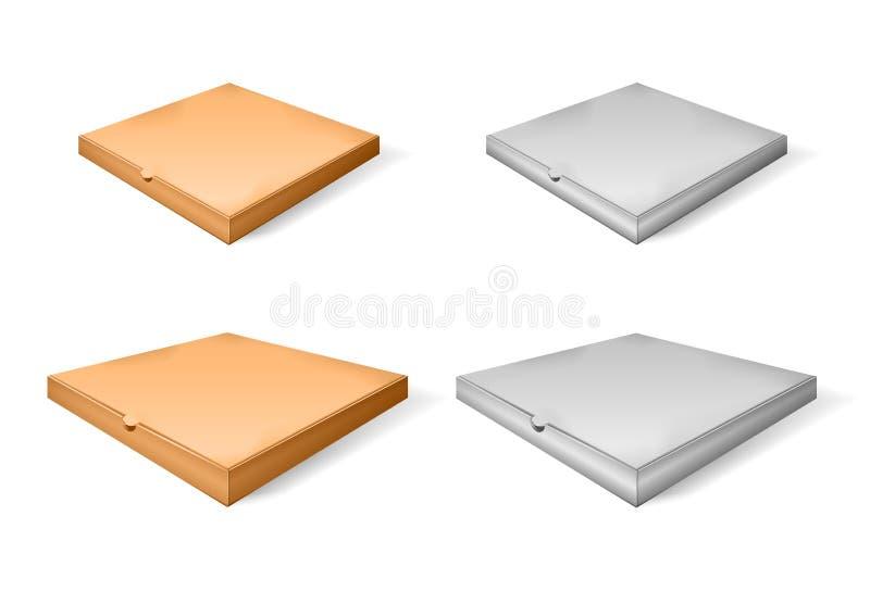 Reeks van bruin beeldverhaal en document pizzavakje Vector illustratie van kartondoos Realistische 3d gesloten isometrische pizza stock illustratie