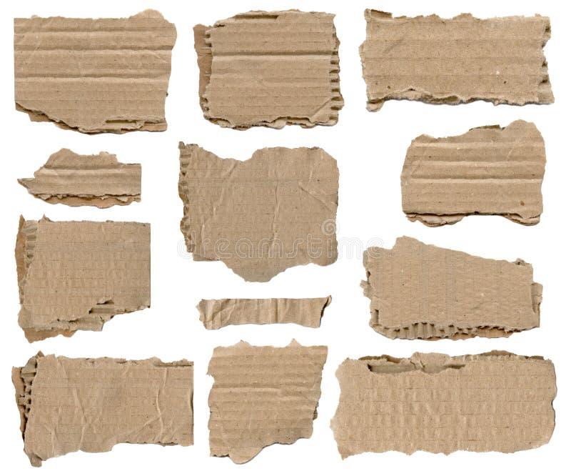 Reeks van bruin gescheurd document stuk stock foto's