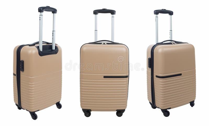 Reeks van bruine die koffer op witte achtergrond wordt geïsoleerd stock fotografie