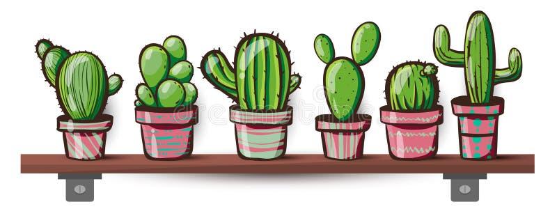 Reeks van cactus Kawaiicactussen royalty-vrije stock foto