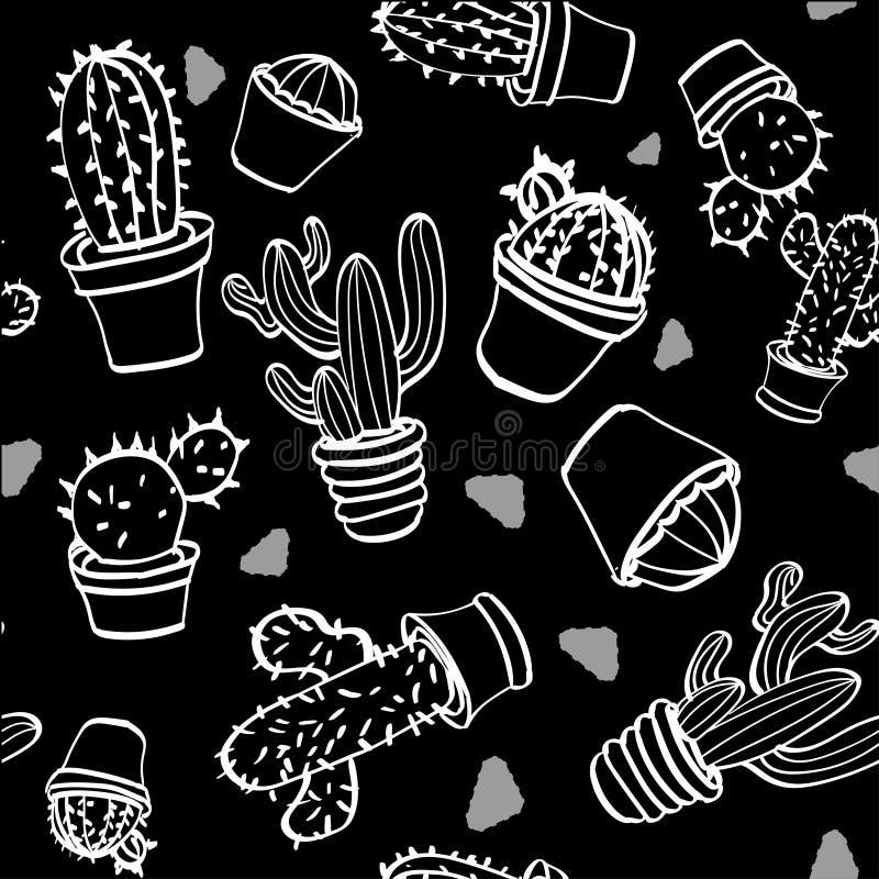 Reeks van cactus op een zwarte achtergrond stock foto's