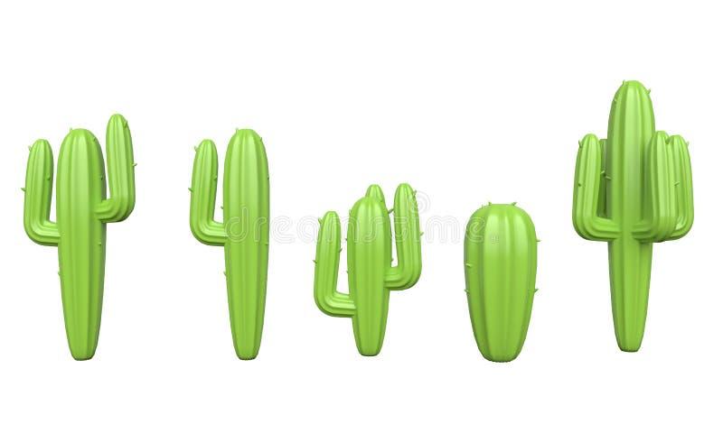 Reeks van cactus op witte achtergrond het 3d teruggeven stock illustratie