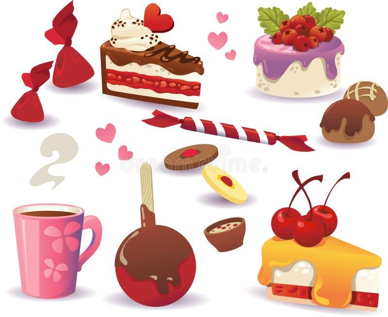 Reeks van cakes en ander zoet die voedsel, op witte achtergrond wordt geïsoleerd stock illustratie