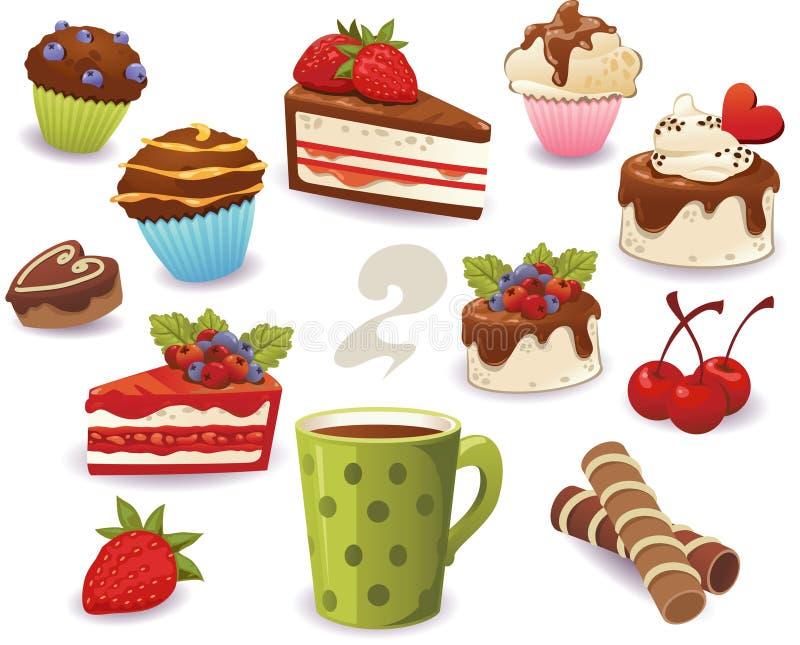 Reeks van cakes en ander zoet die voedsel, op witte achtergrond wordt geïsoleerd royalty-vrije illustratie