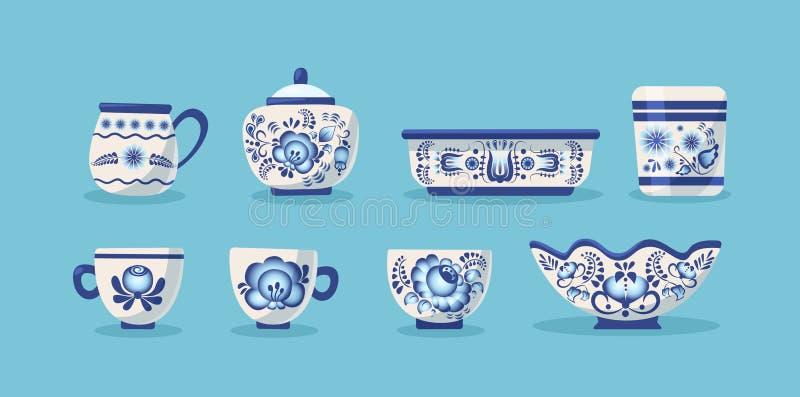 Reeks van ceramisch keukengerei of aardewerk stock illustratie