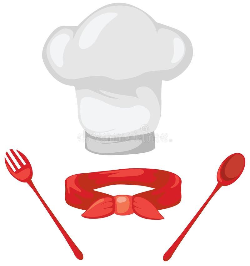 Reeks van chef-kokhoed, rode sjaal, lepel en vork stock illustratie