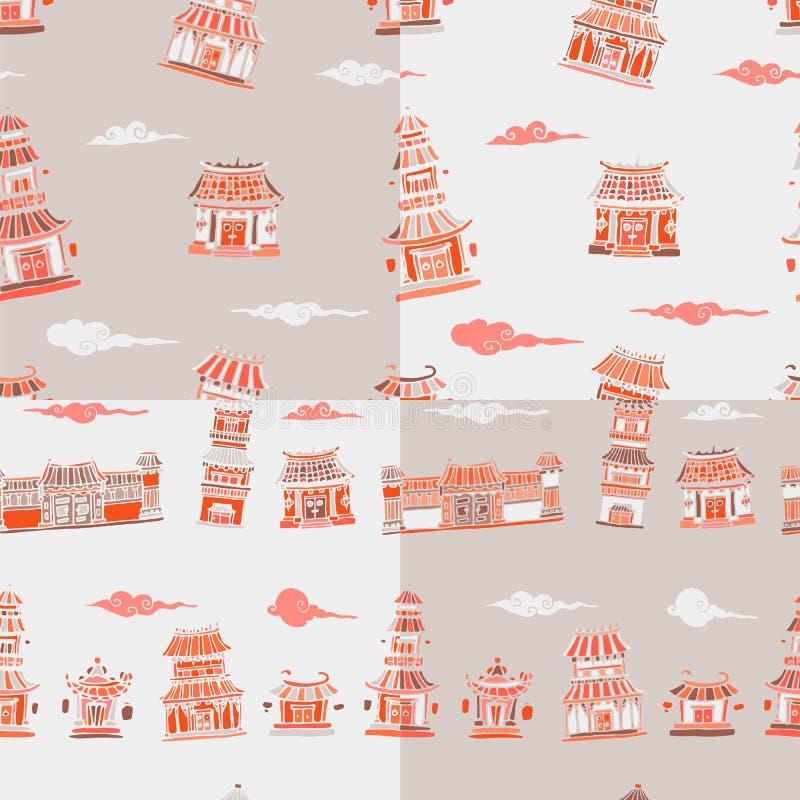 Reeks van 4 Chinees of Japans gebouwen naadloos patroon stock illustratie