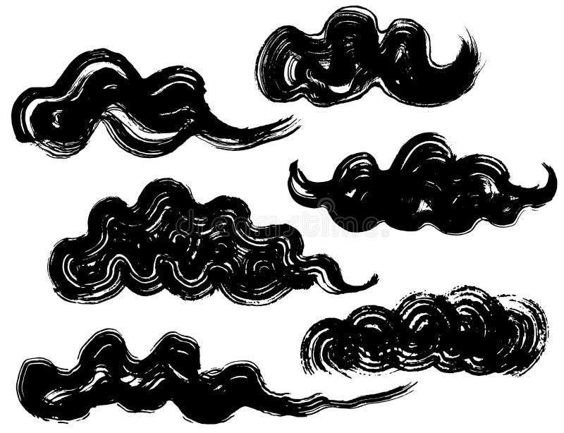 Reeks van Chinese wolk de illustraties van de borstelslag vector illustratie