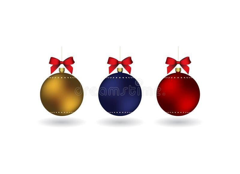 Reeks van 3 Christmass-ballen met lint het hangen op een gouden ketting vector illustratie