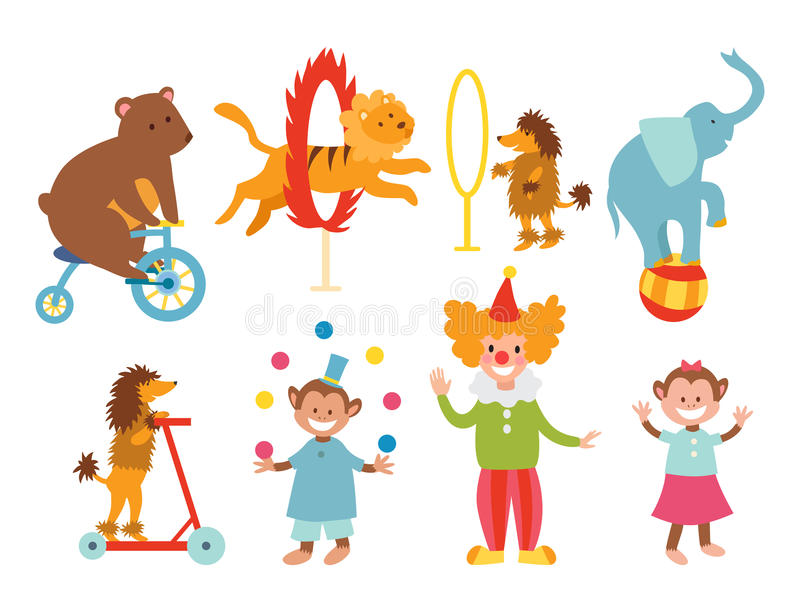 Reeks van circus de grappige dieren van de vectorjuggler van de het vermaakinzameling van de pictogrammen vrolijke dierentuin uit stock illustratie