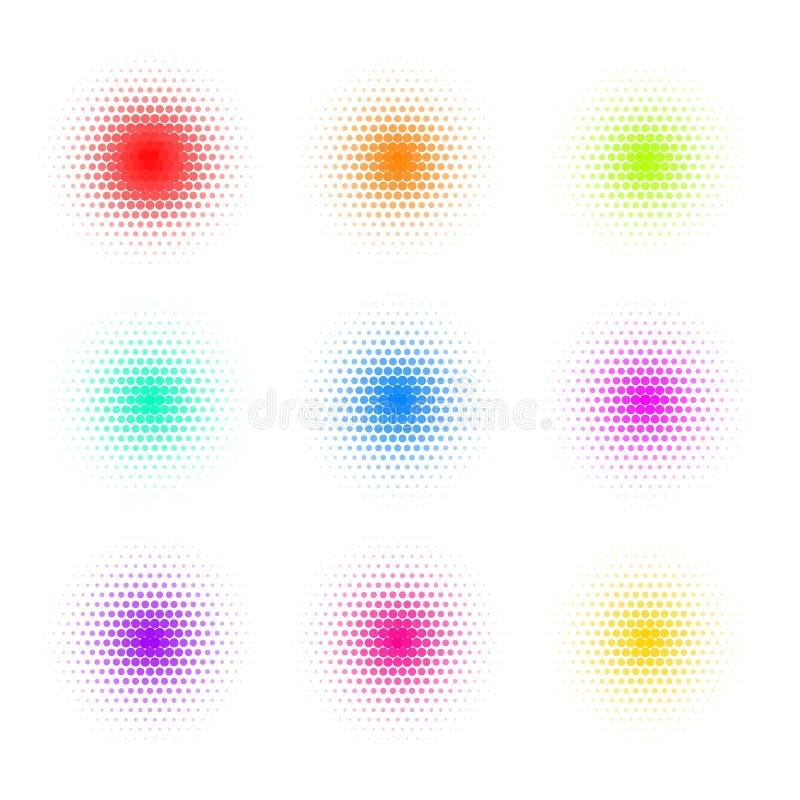 Reeks van Cirkel Kleurrijk Dot Banners Lawaaierige Ronde vector illustratie