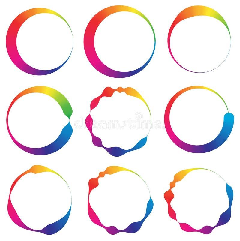 Reeks van cirkel 9 met onregelmatige lijnen royalty-vrije illustratie