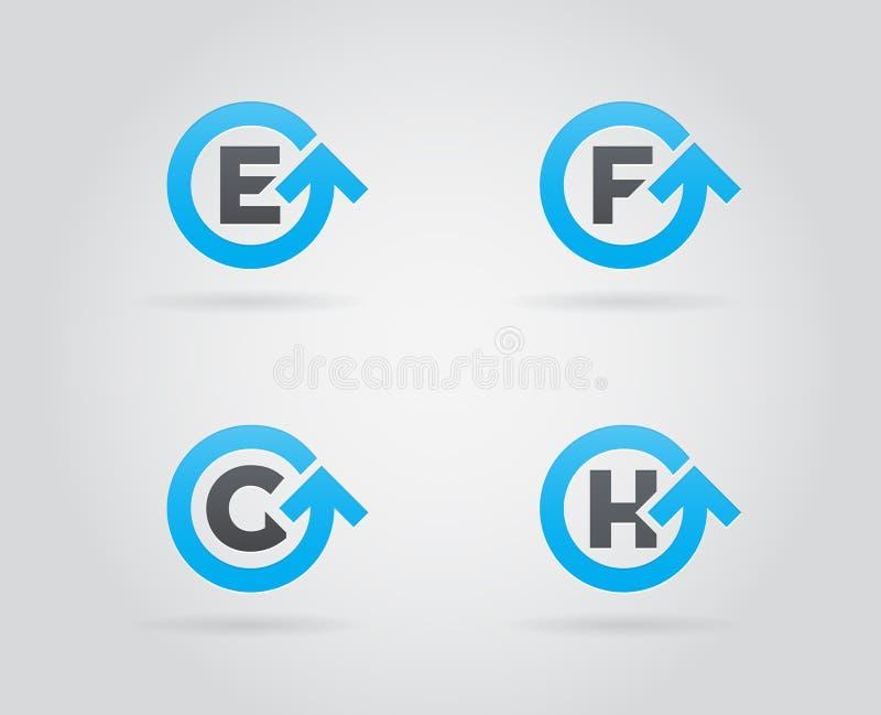Reeks van Cirkelpijl Logo Icon Design met Brief Malplaatjeelement in Vector stock illustratie