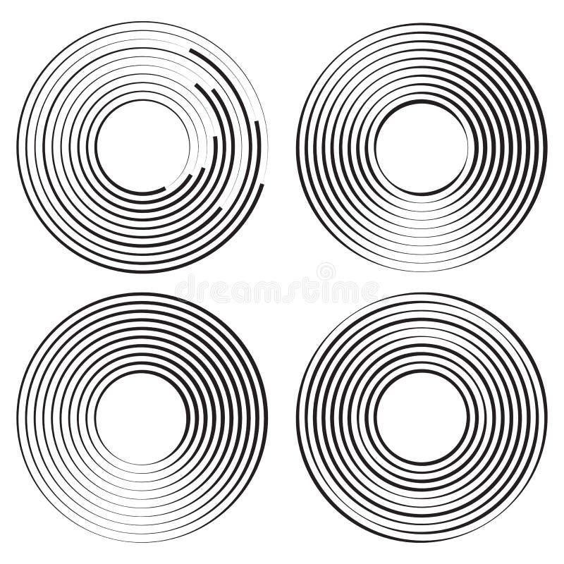 Reeks van concentrisch cirkels geometrisch element Vector illustratie royalty-vrije illustratie