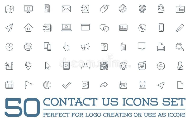 Reeks van Contact ons de Dienstelementen royalty-vrije illustratie