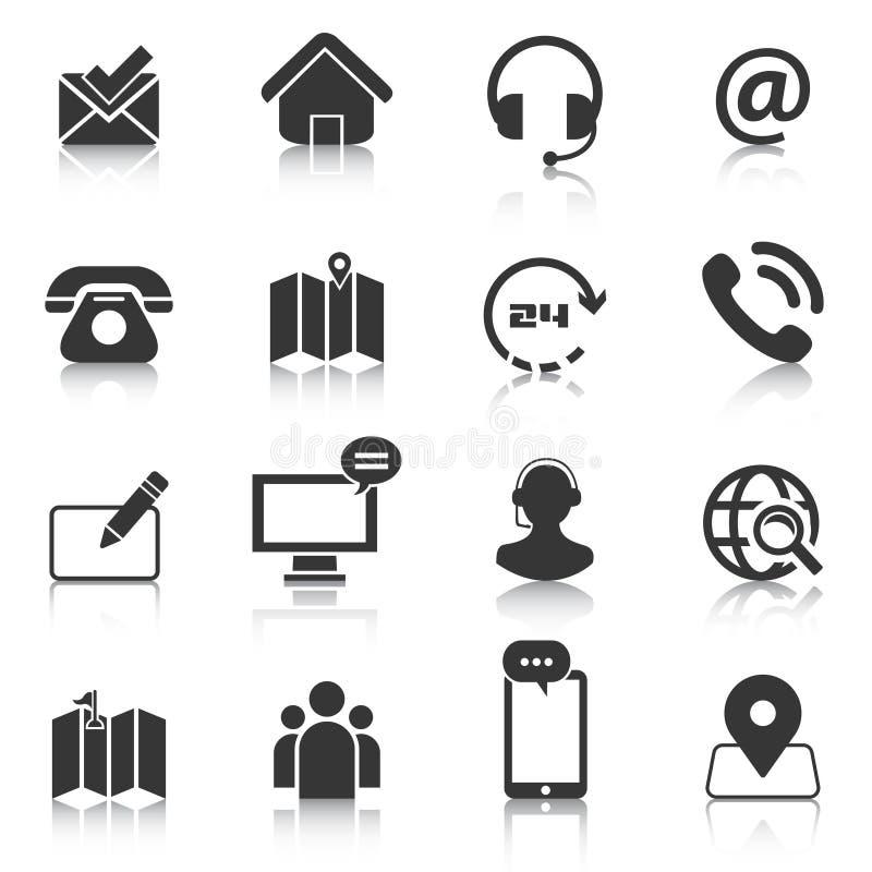 Reeks van contact ons pictogrammen, kaartplaats, telefoon Vector illustratie vector illustratie