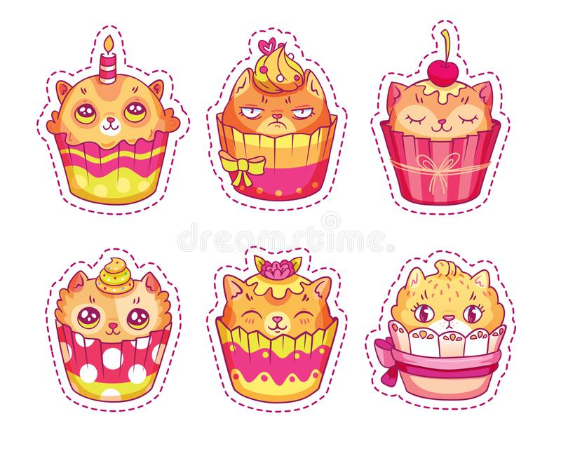 Reeks van creatief kattengezicht cupcakes voor stickers, flarden, spelden royalty-vrije illustratie