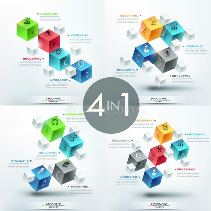 Reeks van 4 creatieve infographic ontwerpmalplaatjes stock illustratie