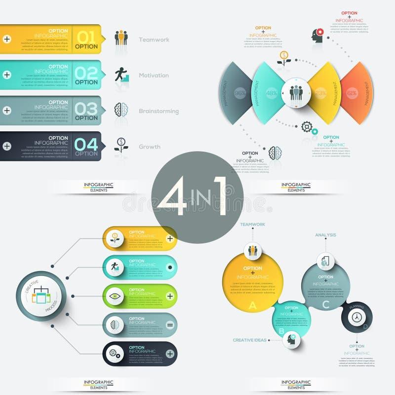 Reeks van 4 creatieve infographic ontwerpmalplaatjes royalty-vrije illustratie