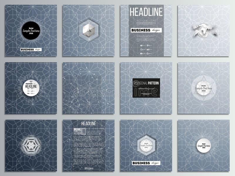 Reeks van 12 creatieve kaarten, het vierkante ontwerp van het brochuremalplaatje Abstracte bloemen bedrijfsachtergrond, moderne m stock illustratie