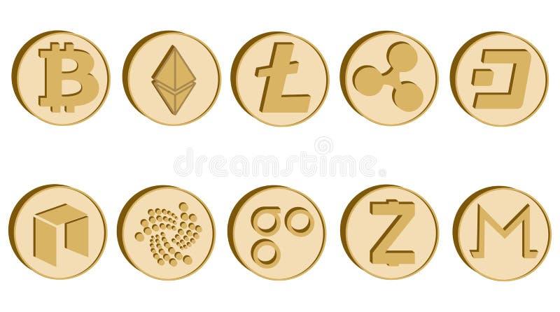 Reeks van crypto muntsymbool, gouden muntstukkenpictogrammen royalty-vrije illustratie
