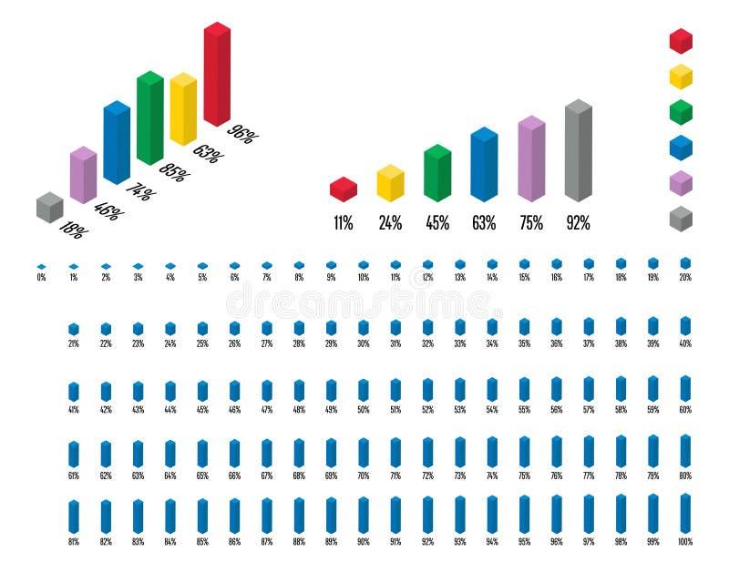 Reeks van 3D isometrische grafiek van het rechthoekpercentage van 1 tot 100 vector illustratie