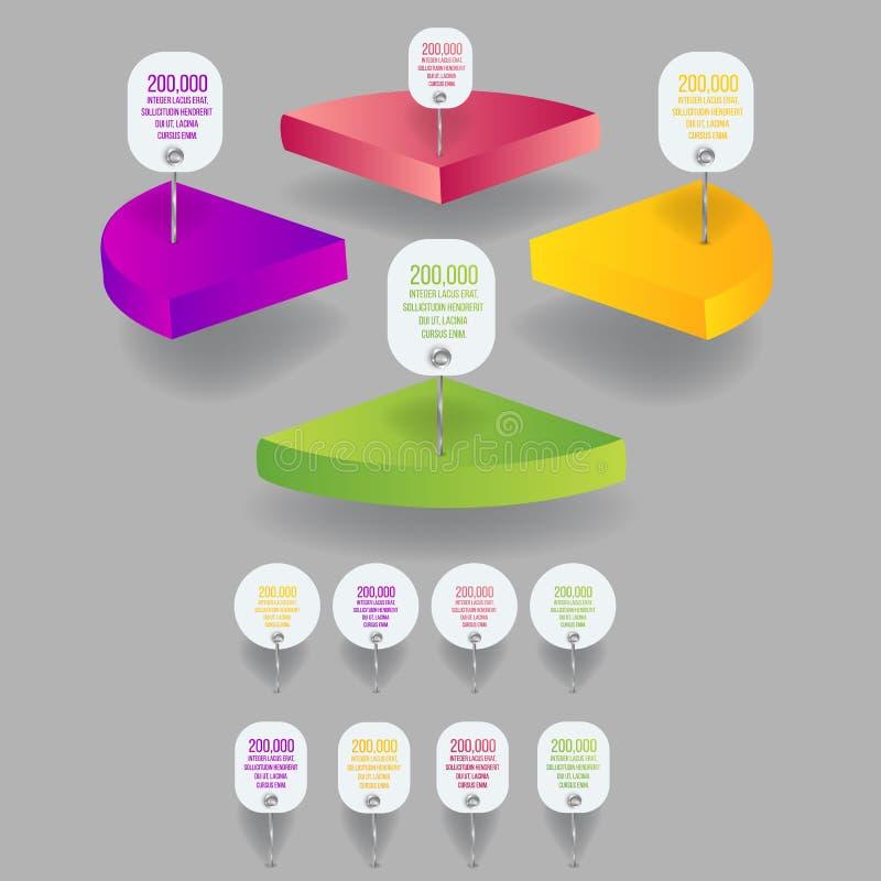 Reeks van 3d kleurrijke isometrische percentenpastei, ideeetiket voor informatie-grafiek stock illustratie