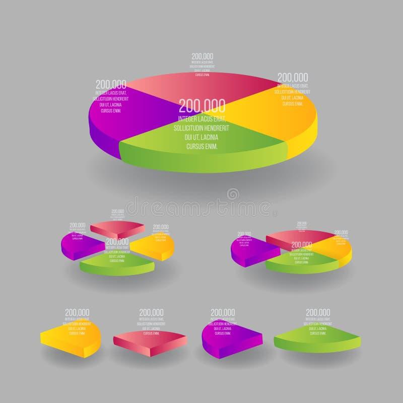 Reeks van 3d kleurrijke isometrische percentenpastei, ideeetiket voor informatie-grafiek vector illustratie