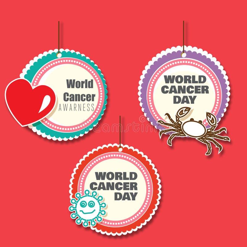 Reeks van 3 danglers van de kankervoorlichting met knipsels stock illustratie