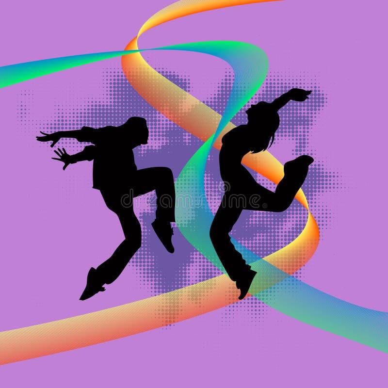 Reeks van danserssilhouet royalty-vrije stock fotografie