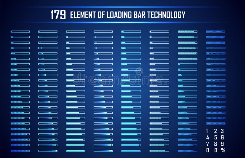 Reeks van de Abstracte Digitale Technologie UI Futuristisch HUD van de Ladingsbar stock illustratie