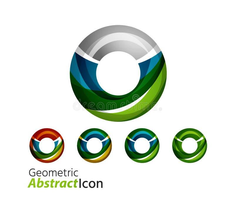 Reeks van de abstracte geometrische ring van het bedrijfembleem stock illustratie