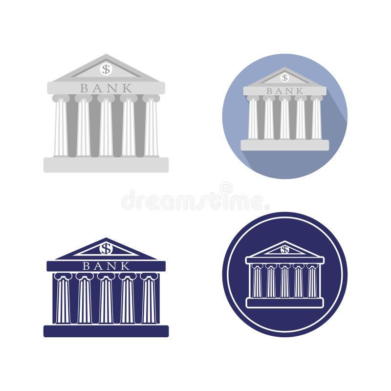 Reeks van de bankbouw teken De klassieke Roman architectuur van Griekenland vector illustratie