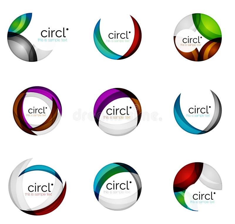 Reeks van de bedrijfs cirkelwerveling emblemen, vector geometrische pictogrammen royalty-vrije illustratie